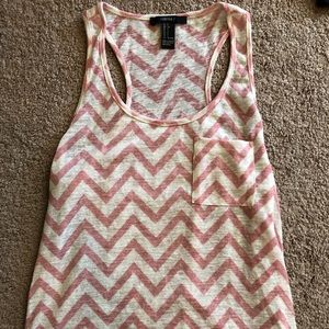Pink and White Chevron Tank Top